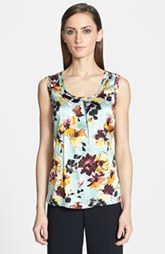 St. John Collection Floral Print Scoop Neck Silk Charmeuse Shell
