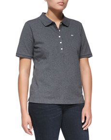 Escada Short-Sleeve Polo, Gray Melange