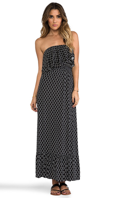 T-Bags LosAngeles Diamond Print Strapless Maxi Dress in Black