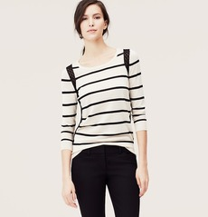 Striped Lace Trim Sweater