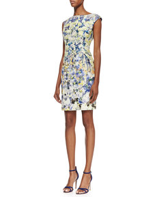 Kay Unger New York Cap-Sleeve Watercolor Floral Print Dress, Multicolor