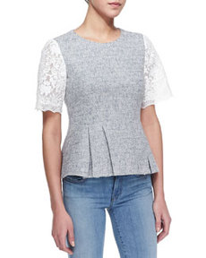 Short-Sleeve Tweed & Lace Top, Shark Gray/White   Short-Sleeve Tweed & Lace Top, Shark Gray/White