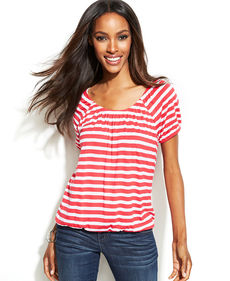 INC International Concepts Striped Bubble-Hem Tee