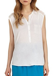 DKNY Sheer-Shouldered Jersey Top