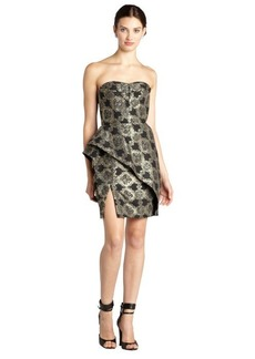A.B.S. by Allen Schwartz black and gold shimmer floral jacquard bustled strapless dress