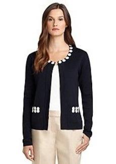 Cotton Long-Sleeve Beaded Cardigan
