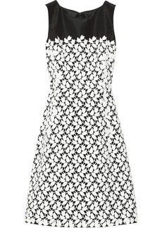 Oscar de la Renta Lace-embellished silk-faille dress