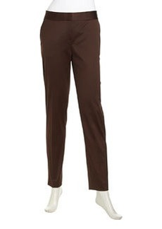 Lafayette 148 New York Slim-Leg Sateen Pants, Espresso
