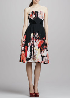 Tracy Reese Strapless Printed Full-Skirt Dress
