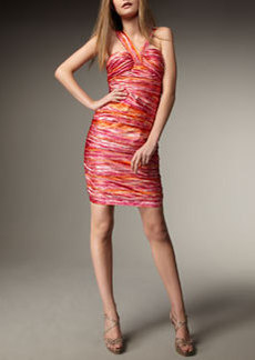 Carmen Marc Valvo Ruched Abstract-Stripe Dress