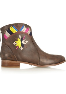 12th Street by Cynthia Vincent Goldie embroidered leather ankle boots