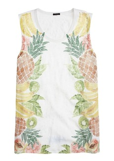 Linen swing tank in fruit salad print