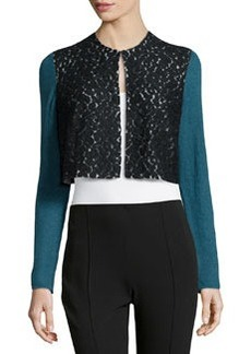 Lafayette 148 New York Lace-Front Sheer-Knit Bolero, Mallard