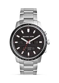 Michael Kors Men's Silver-Tone Granger Ana-Digital Watch, 45mm