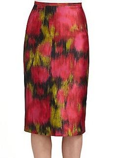 Michael Kors Zinnia Wool & Silk Shantung Floral-Print Skirt