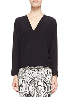 Etro Faux-Wrap Silk Blouse, Black