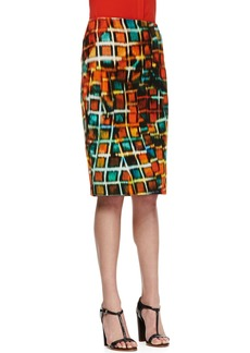Lafayette 148 New York Modern Pencil Hologram-Print Skirt, Habanero Multicolor