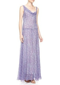 Diane von Furstenberg Tadd Long Grain Star Print Maxi Dress, Purple/Blue