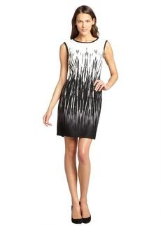 Tahari ASL ivory and black printed stretch jersey sleeveless dress