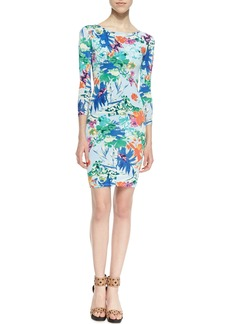 T Bags 3/4-Sleeve Floral-Print Sheath Dress, Blue