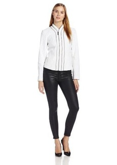 Elie Tahari Women's Bella Cotton Metal Zip Detail Jacket