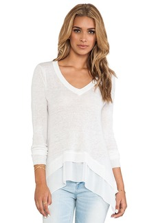 Central Park West Sao Paulo Sheer Panel Pullover in White