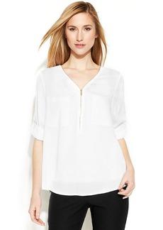 Calvin Klein Long-Sleeve Zip V-Neck Blouse