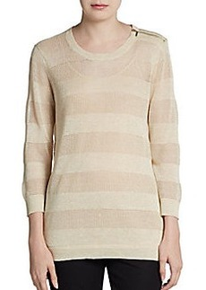 Ellen Tracy Zipper-Detailed Knit Pullover