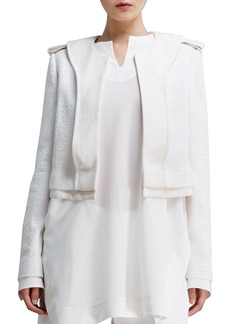 Chloe Shimmery Tweed Jacket, Cream
