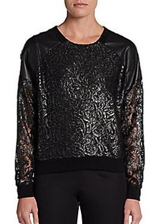 DKNY Leather-Detail Pullover