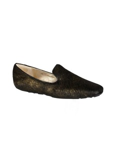 Jimmy Choo black and gold flecked calf hair 'Wheel' loafers