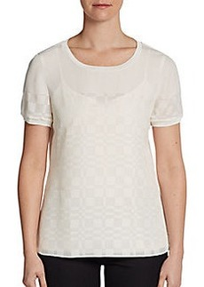 Elie Tahari Enza Perforated Blouse