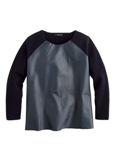 Collection leather-front merino wool sweater