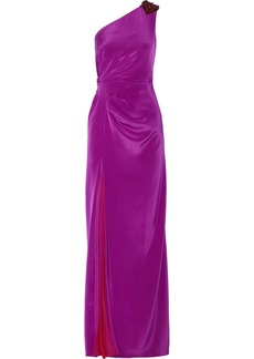 Badgley Mischka One-shoulder embellished silk-blend gown