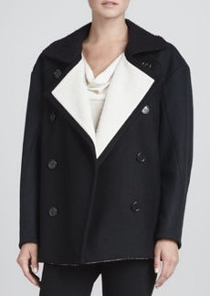 Derek Lam Contrast-Lined Pea Coat, Black/Navy/White