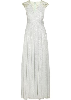 Badgley Mischka Embellished metallic fil coupé gown