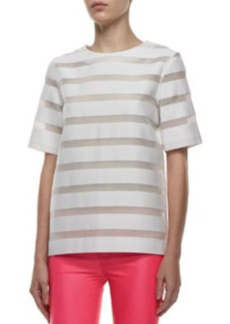 Earhart Striped Mesh Blouse   Earhart Striped Mesh Blouse