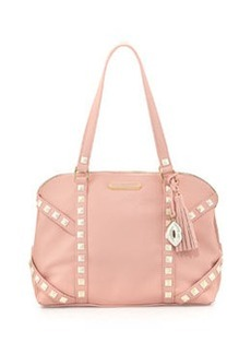 Betsey Johnson Iridescent Studded Dome Satchel Bag, Blush