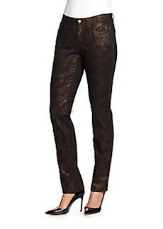 Lafayette 148 New York Metallic Coated Straight Leg Jeans