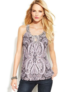 INC International Concepts Printed Embellished Keyhole Top