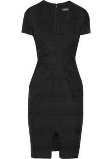 Zac Posen Embroidered snake-jacquard dress