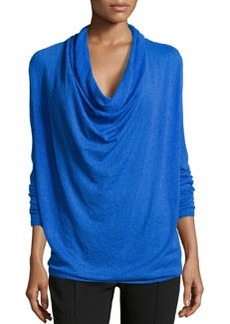 Lafayette 148 New York Voile-Knit Cowl-Neck Sweater