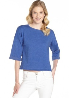 C & C California mirage blue cotton blend 3/4 sleeve sweatshirt