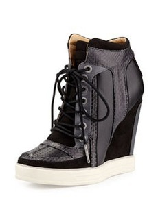 L.A.M.B. Summer Snake-Print Wedge Sneaker, Black