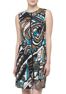Lafayette 148 New York Misti Zip-Front Art Deco Print Dress, Chai