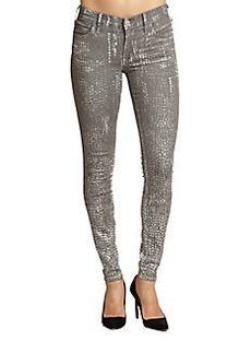 True Religion Chrissy Snake-Print Skinny Jeans