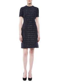 Michael Kors Liquid Tweed Short-Sleeve Dress
