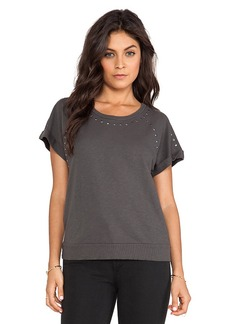 Velvet by Graham & Spencer French Prissy Terry Slub Tee in Gray