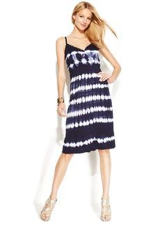 INC International Concepts Petite Ruffled Tie-Dye Sleeveless Dress