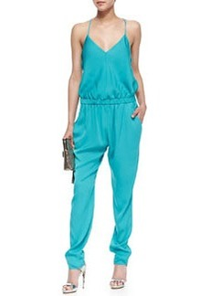 Stretch-Silk Racerback Jumpsuit, Dark Aqua   Stretch-Silk Racerback Jumpsuit, Dark Aqua